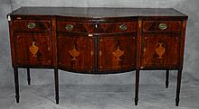 Early 19th C urn inlaid mahogany sideboard. H:38.5