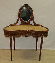 Louis xv carved walnut vanity. H:49.5