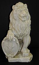 Large glazed terrecotta lion. H:30