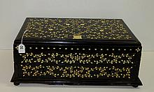 Large Ivory inlaid wood silver chest with velvet
