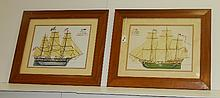 Pair antique boat prints. Overall size H:20.5