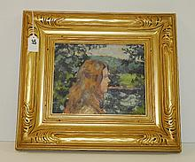 Painting on panel of girl in landscape signed lower