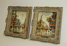 A. Divity, pair of Paris street scenes signed lower