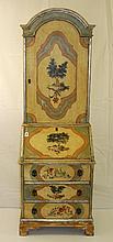 Antique Italian painted 2 part secretary desk. H:73