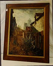 Very Large 19th C Porcelain plaque of village scene in