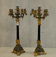 Pair 19th c Patinated and gilt bronze 6 light