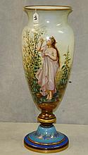 Large 19th c hand painted opaline glass vase. H:27