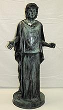 Large 19th C neoclasical green patinated bronze signed