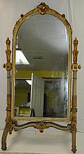 19th C French carved and painted Cheval mirror. H:71.5