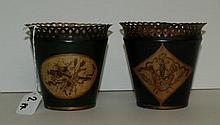 Pair antique tole painted planters. H:4.5