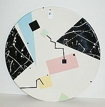 Modern porcelain charger signed Rita Duvall and dated