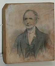 19th c pencil drawing on block of wood. H:4.25