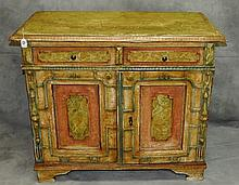 19th c Italian painted 2 door cabinet with faux painted