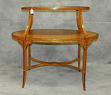 19th c Satinwood inlaid two tier desert table. H:30.5