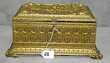 Large 19th C Brass embossed hinged covered box with