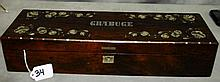 19th C Rosewood and mother of pearl inlaid long box.