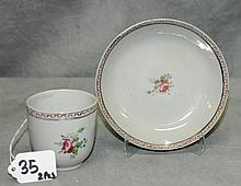 19th C China trade porcelain cup and saucer.