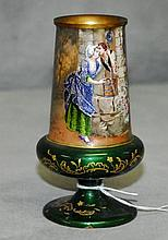19th c Viennese enamel vase. H:5