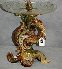 Antique Majoilca and crystal compote. H:11.5
