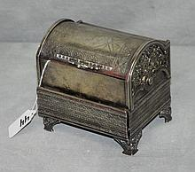 Silver plate dome covered jewelry box. H:5
