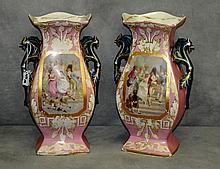 Pair 19th c Old Paris porcelain hand painted and gilt