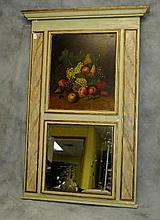 19th C French Trumeau mirror with oil on canvas still