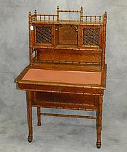19th c Bamboo ladies desk with drawers on side. H:54