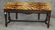 19th C Metamorphic action carved mahogany bench.