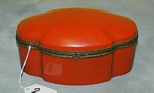 Porcelain hinged covered painted box. H:3. 75