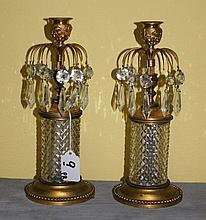 Pair Baccarat style single light candle sticks. H:10
