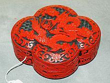 Chinese cinnabar covered dragon box. F:2. 5