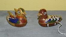 Two cloisonne figural duck boxes. H:2