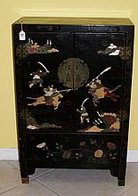 Chinese laquered 2 door cabinet with applied hardstone