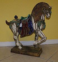 Large Chinese painted ceramic horse. H:27
