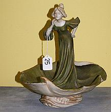 Royal Dux figural dish With standing woman in long