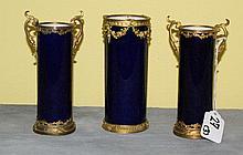 Three piece sevres cobalt blue bronze mounted set of