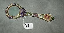 French enamel magnifying glass. L:9. 5