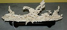 Chinese 19th C Carved ivory group of tigers in the