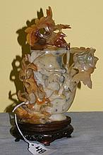 Chinese 19th C Jade covered figural jar with foliage
