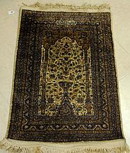 Signed oriental silk prayer rug. 3'1 X 2'2.