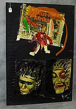 Peter Keil oil painting and decoupage on cloth signed