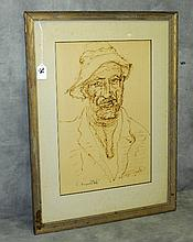 Ink drawing of Hobo signed and dated bottom. Site size