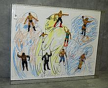 Peter Keil painting on board with applied wrestling