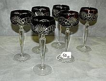 set of 6 ruby and clear crystal glasses. H:8