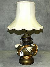 Teplitz pottery floral oil lamp converted to electric.