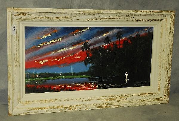 John Maynor Florida Highwaymen artist oil on panel