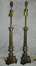 Pair antique bronze column lamps. H:40.5: