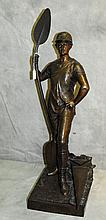 Large Bronze Figure of a male signed on base M. Douay