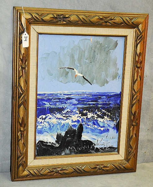 Morris katz 1931 2010 oil on panel of seascape signed for Katz fine art