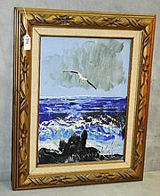Morris Katz (1931-2010) oil on panel of seascape signed